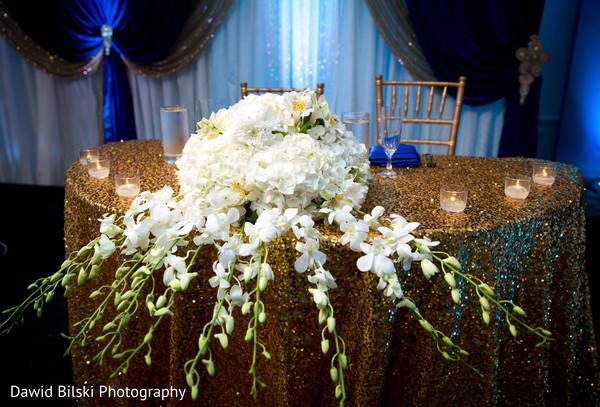Indian lovebirds wedding reception table