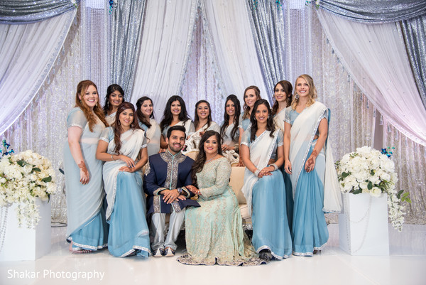 indian bride and groom,indian wedding reception,indian bridesmaids,indian wedding reception floral and decor
