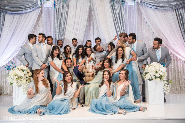 indian bride and groom,indian wedding reception,indian bridesmaids and groomsmen,indian wedding reception floral and decor