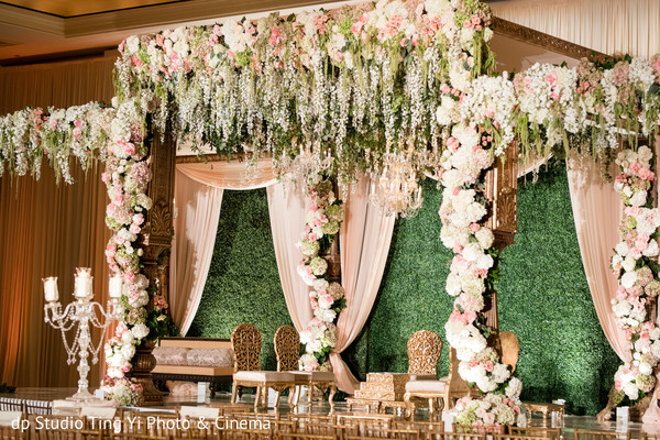 Lush wedding ceremony mandap.