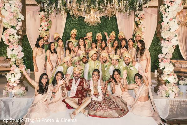 Wonderful Indian bride and groom entourage.