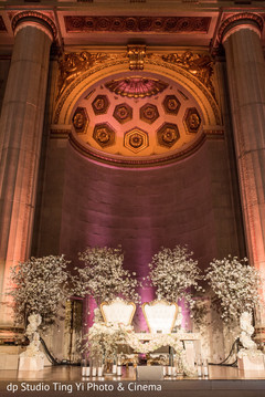 floral and decor,sweetheart stage,indian wedding reception