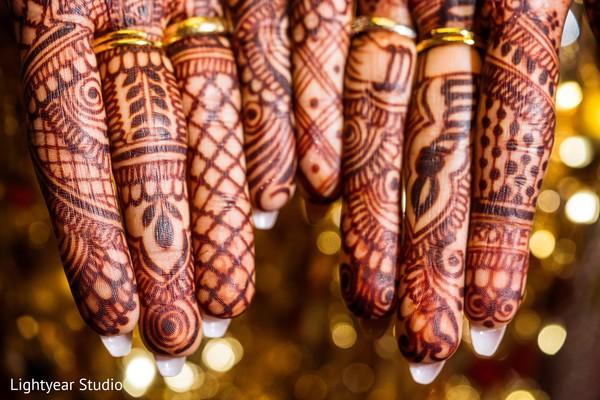 Traditional Indian bride hand henna design.