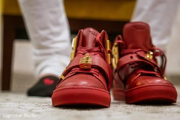 Inspiring red bridal sneaker shoes.