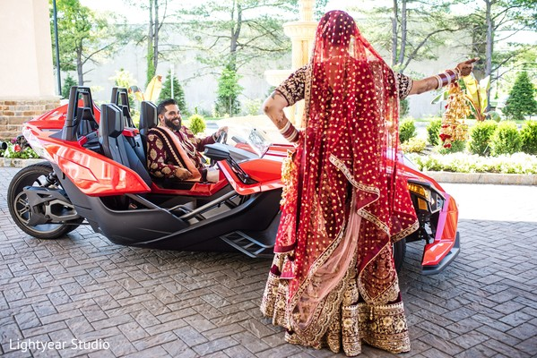 Polaris Slingshot 3 wheeler to transport the bride and groom.