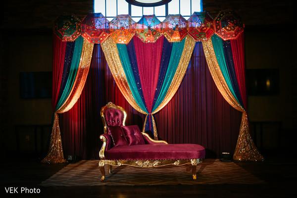 Colorful mehndi party venue decor