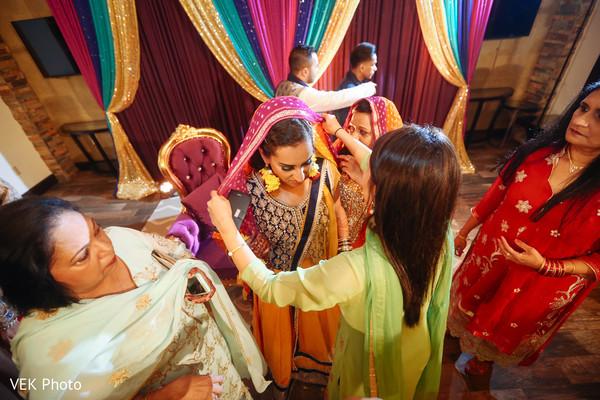 indian bride during mehndi party