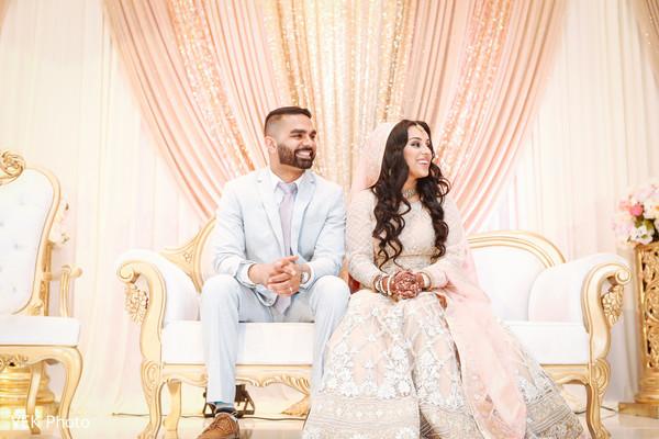 Indian bride and groom enjoying their nikkah reception