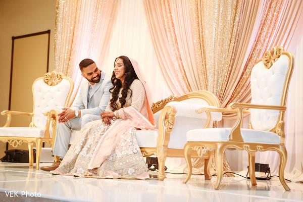 Indian bride and groom enjoying their wedding nikkah