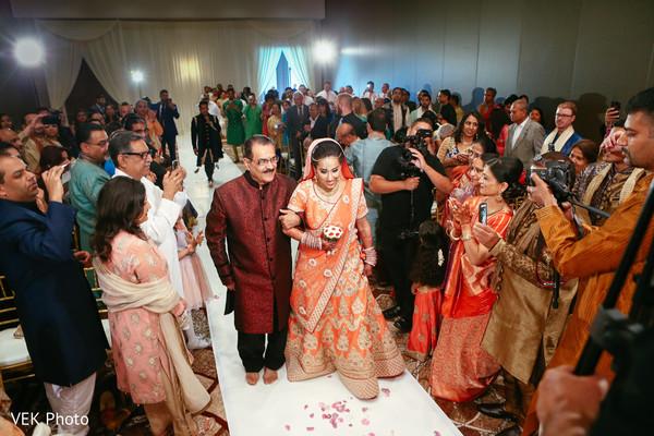 Indian bride's entrance to wedding ceremony