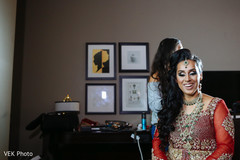 Adorable indian bride getting ready scene