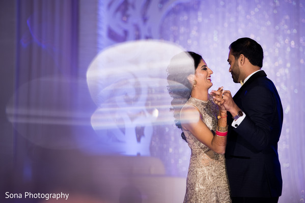 indian wedding reception,indian bride and groom,lightning,first dance