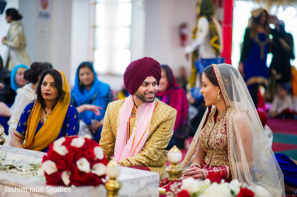 Traditional Sikh bride and groom.