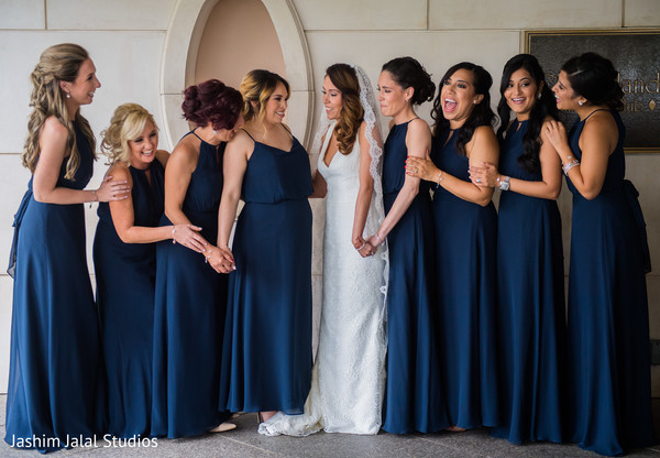 Indian bridesmaids in navy blue.