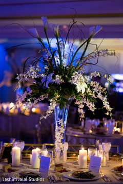 floral and decor,indian wedding reception,floral centerpiece