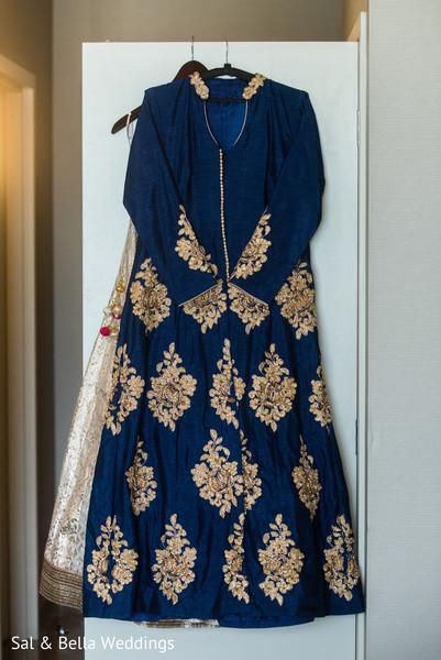 Beautiful blue and gold wedding lengha
