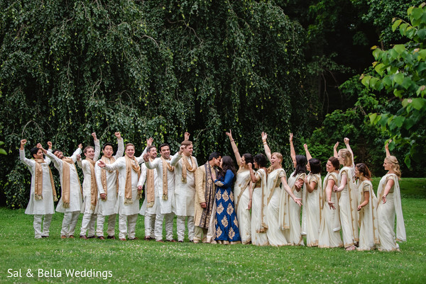 Amazing indian wedding party portrait