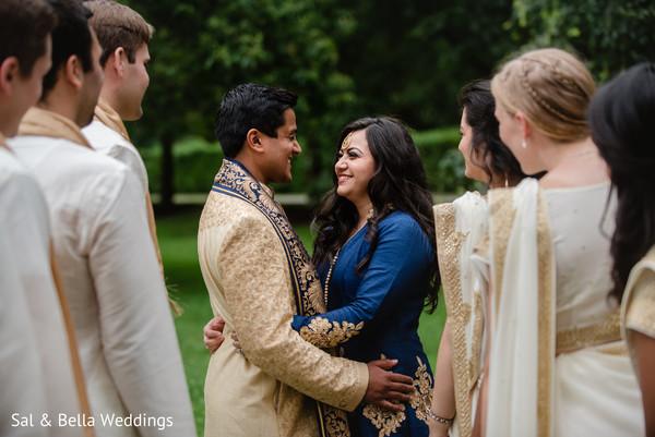 Joyful indian newlyweds