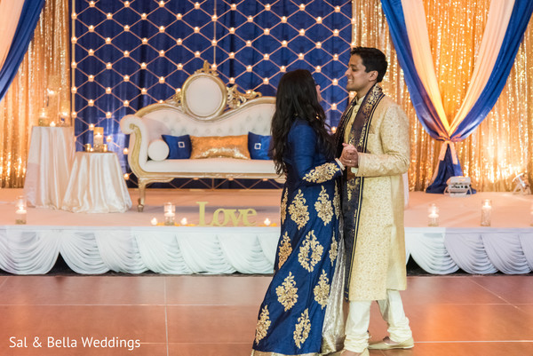 Indian bride and groom during first dance