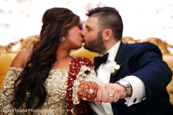 Indian bride and groom loving moments.