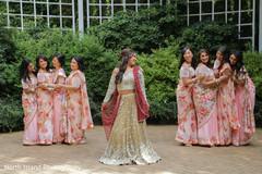 Bridesmaids' floral saris.