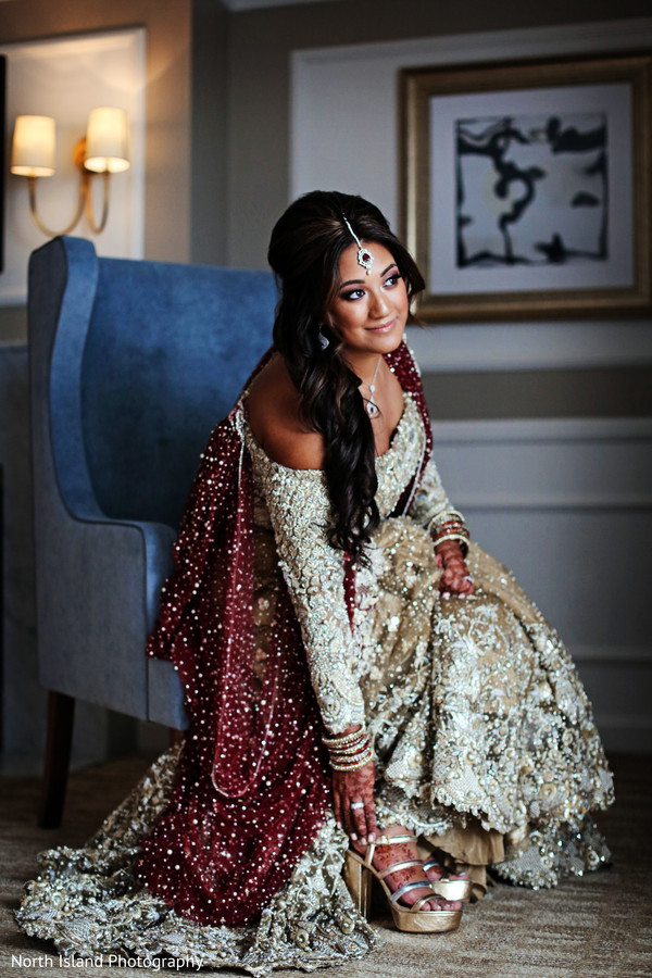 indian bride,getting ready,indian bride hair and makeup,bridal shoes