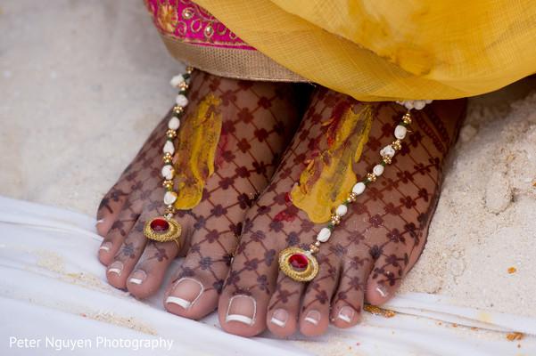 Indian bride's feet mehndi art