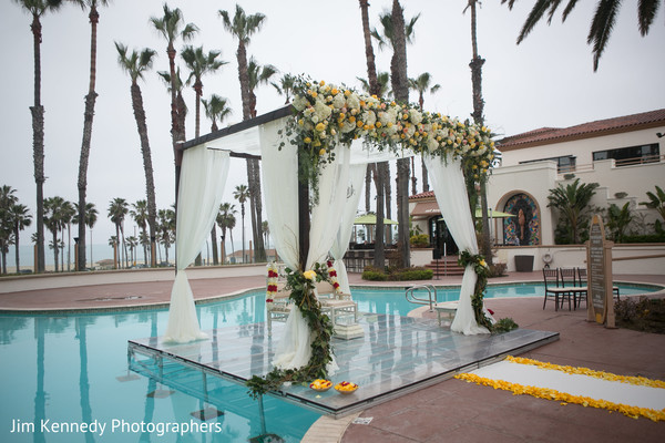 indian wedding ceremony,mandap,floral and decor,poolside wedding ceremony