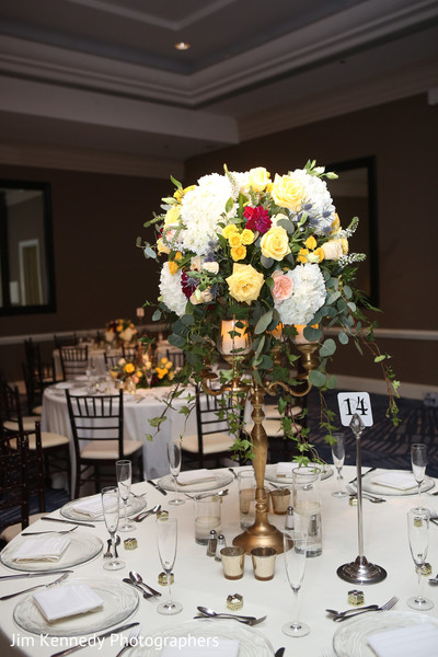 indian wedding reception,floral centerpieces,floral and decor