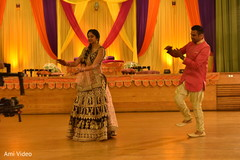 pre-wedding celebration,garba,indian bride and groom,choreography