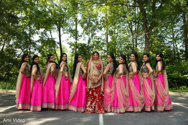 Glitzy and glamorous Indian bridal party.