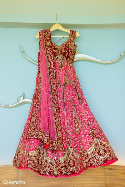 Dreamy pink and rose bridal lengha.