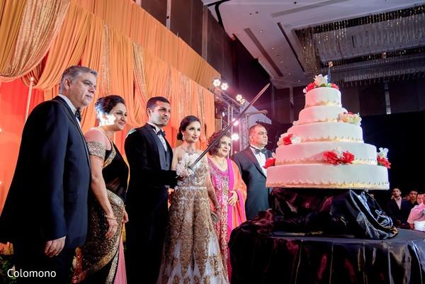 Unique Indian wedding cake cutting moment.