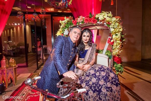 pre-wedding celebrations,sangeet,rickshaw,indian bride