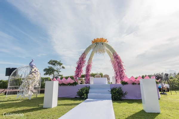 Precious outdoor Indian wedding ceremony decor.
