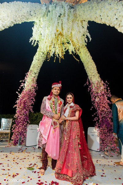 indian wedding ceremony,mandap,indian bride and groom,floral and decor