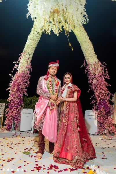 Beautiful night outdoor wedding ceremony.