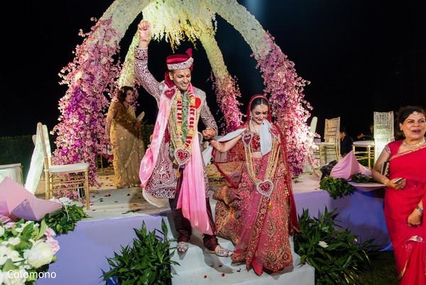 indian wedding ceremony,indian bride and groom,mandap