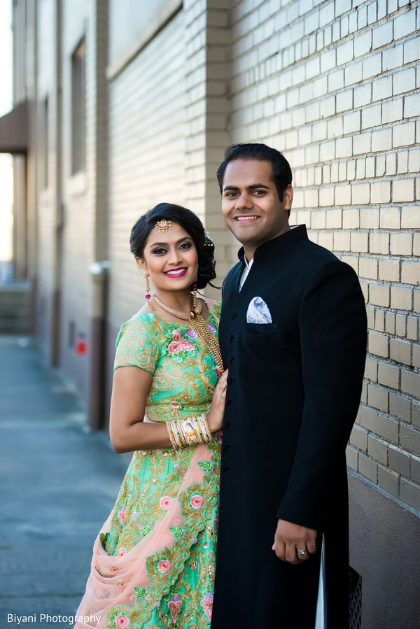 indian bride and groom portrait,indian groom fashion,indian bride fashion