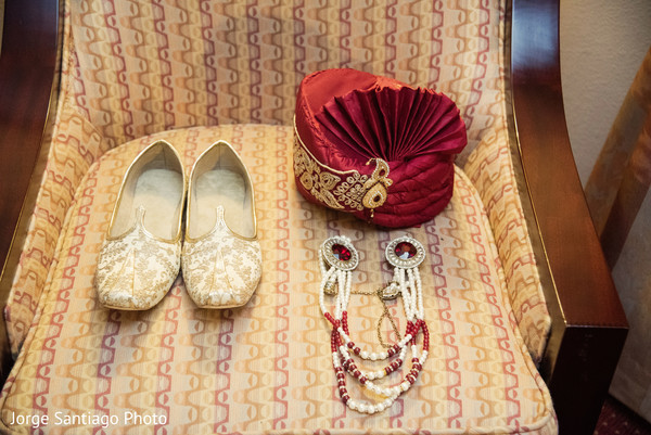 Traditional Indian groom attire accessories.