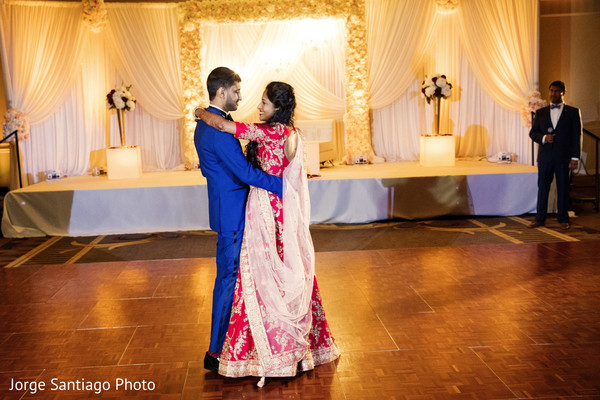 indian wedding reception,dj,indian bride and groom,choreography