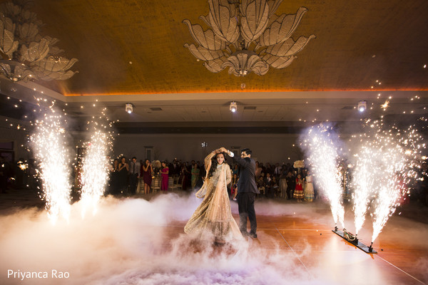 indian bride gown,indian groom fashion,first dance,fireworks