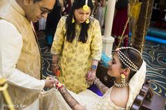 indian bride fashion,yellow sari,indian bride hair accessories