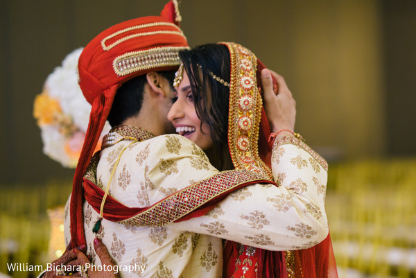 indian bride and groom,first look,ceremony fashion