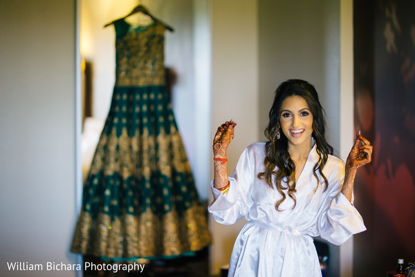 indian bride,hair and makeup,getting ready,reception lehenga