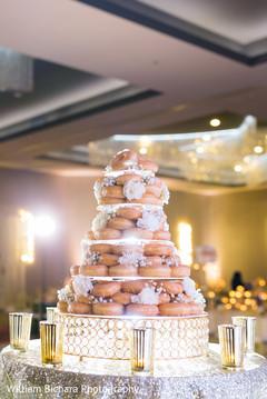 indian wedding reception,donuts wedding cake,wedding cake