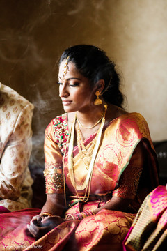 Indian bride during the  wedding religious ceremony.