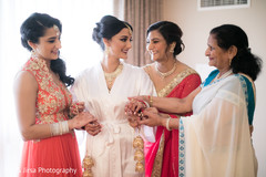 indian bridesmaids,getting ready,indian bride jewelry