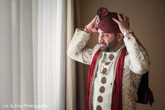 sherwani,red dupatta,turban