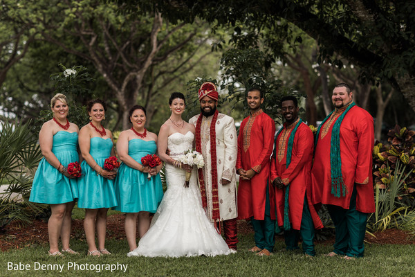 Inspiring Indian fusion bride and groomsmen outfits. in Key Largo, FL South Asian Fusion Wedding by Babe Denny Photography
